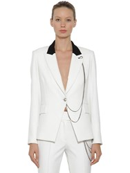 Veronica Beard Chain Embellished Single Breast Blazer White