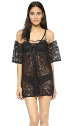 For Love And Lemons Victorian Robe Black Nude