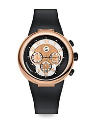 Philip Stein Teslar Rose Gold Active Chronograph Watch On Black Silicone Strap