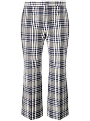 Alexander Mcqueen Checked Cropped Trousers Blue