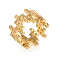 Maiko Nagayama Zig Zag Puzzle Green Garnet Ring Gold Green Yellow