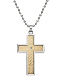 Macy's Men's Diamond Accent Cross Pendant In 18K Gold And Stainless Steel