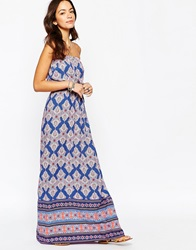 New Look Aztec Print Bandeau Maxi Dress Purplepattern