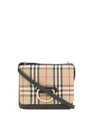 Burberry The Small Leather And Vintage Check D Ring Bag Black