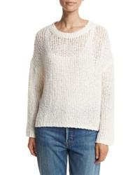 Vince Open Knit Drop Shoulder Pullover Sweater Tan