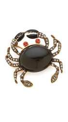 Oscar De La Renta Pave Crab Brooch Black Diamond