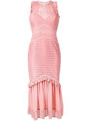 Three Floor Sheer Reveal Fitted Dress Pink