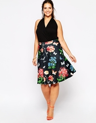 Club L Plus Size A Line Skirt In Butterfly Floral Print Blackbutterflyflor