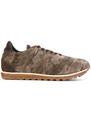 Alberto Fasciani Panelled Camouflage Sneakers Cotton Leather Suede Rubber Green