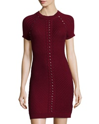 Philosophy Studded Short Sleeve Sweaterdress Merlot Red