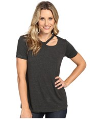 Allen Allen Short Sleeve Cut Shoulder Charcoal Women's Clothing Gray