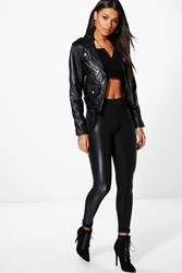 Boohoo Rose Quilted Leather Look Panel Leggings Black