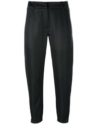 Ann Demeulemeester Jacquard Cropped Trousers Black