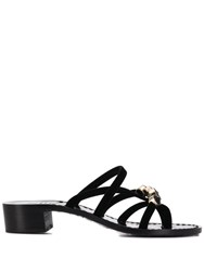 Emanuela Caruso Embellished Strappy Mules Black