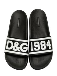 Dolce And Gabbana Dandg Rubberized Leather Slide Sandals Black White