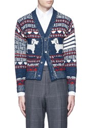 Thom Browne 'Hector' Wool Mohair Fair Isle Cardigan Multi Colour