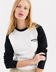 Dickies Relaxed Long Sleeve Baseball T Shirt With Front Logo White