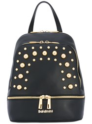Baldinini Studded Backpack Women Cotton Leather Metal One Size Black
