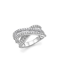Bloomingdale's Diamond Round And Baguette Crossover Ring In 14K White Gold 2.0 Ct. T.W. 100 Exclusive