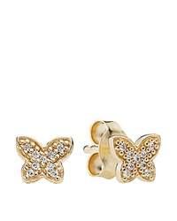 Pandora Design Pandora Earrings 14K Gold And Cubic Zirconia Petite Butterfly Studs