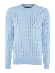 Howick Men's Sanford Cable Crew Jumper Sky