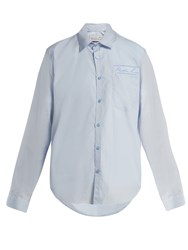 Martine Rose Logo Embroidered Cotton Shirt Blue