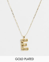 Asos Design Gold Plated Necklace With Vintage Style Bamboo 'E' Initial Pendant