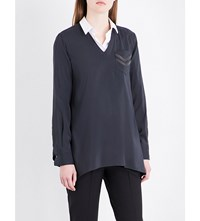 Brunello Cucinelli Chain Embellished Stretch Silk Shirt Charcoal