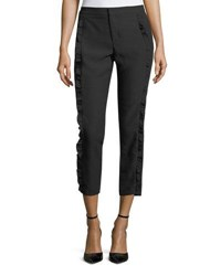 Neiman Marcus Cropped Ruffle Trimmed Pants Black