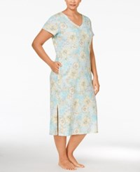 Miss Elaine Plus Size Floral Print Nightgown Yellow Botanical Floral