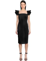 Antonio Berardi Bonded Cady Dress W Ruffled Shoulders