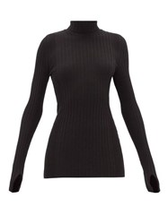 Paco Rabanne Ribbed Cotton Blend Roll Neck Sweater Black