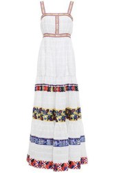 Stella Jean Woman Printed Satin Trimmed Broderie Anglaise Cotton Maxi Dress White