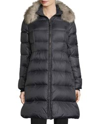 Kate Spade Quilted Puffer Down Skirted Coat W Faux Fur Collar Black