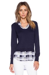 Central Park West Collared Pullover Sweater Navy