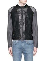 Maison Martin Margiela Mesh Front Leather Trim Nylon Bomber Jacket Grey