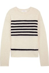 Frame Striped Stretch Knit Sweater Off White