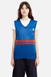 Vivienne Westwood Unisex Charles Sleeveless V Neck Sweater Bluette Rust