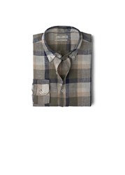 Mango Slim Fit Check Linen Shirt Green