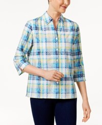 Alfred Dunner Scenic Route Plaid Burnout Shirt Multi