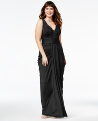 City Chic Trendy Plus Size Ruched Gown Black