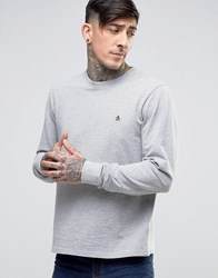 Original Penguin Long Sleeve Top Pique Slim Fit In Grey Rain Heather