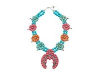 Gypsy Soule Squash Blossom Necklace Pink Turquoise Orange Necklace Blue