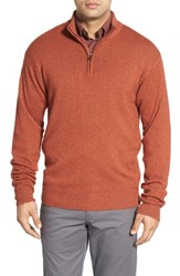 Men's Peter Millar Regular Fit Quarter Zip Wool Blend Pullover Rust