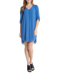 Karen Kane Three Quarter Sleeve Shift Dress Indigo