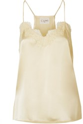 Cami Nyc Racer Lace Trimmed Silk Charmeuse Camsiole Pastel Yellow Gbp