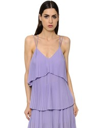 Elie Saab Layered Plisse Crepe Georgette Top