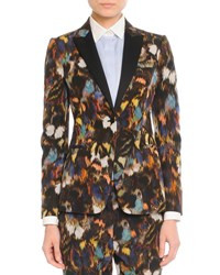 Valentino Abstract Painted Feather Jacket Black Multi