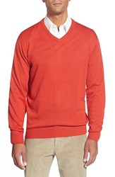 Men's Cutter And Buck 'Douglas' Merino Wool Blend V Neck Sweater Milano Red Heather