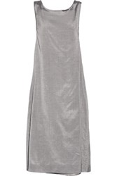Rochas Metallic Bow Embellished Silk And Cotton Blend Dress Silver